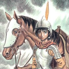 Casca holds the reins of her horse.