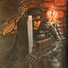 Puck stands on Guts' shoulder, the swordsman covered in blood.