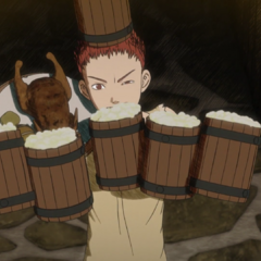 Isidro's initial appearance in the anime, serving a group of bandits in a tavern.