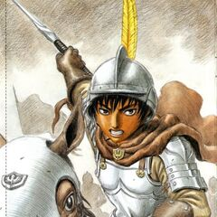 Casca prepares to strike on horseback in the midst of battle.