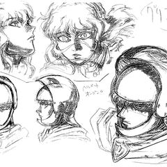 Profile sketches of Griffith wearing his open helmet and showing various expressions, shadowed with charcoal, for the 1997 anime.