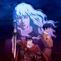 Front cover of the film trilogy Blu-ray, featuring a blood covered Guts, Casca, and Griffith.