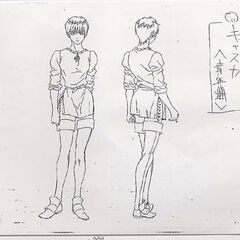 Full body concept drawings of an older Casca for the 1997 anime.