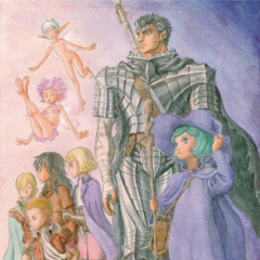 Puck gazes at something in the distance alongside the rest of Guts' travelling party.