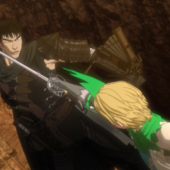 Serpico attacks Guts, pushing him back.