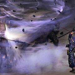 Schierke using wind magic against a crocodile Pishacha.