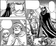 Padre de Collette anima a Guts a resguardarse (manga)
