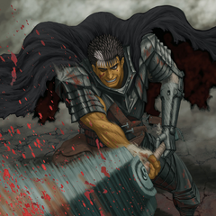 Guts swings his Dragon Slayer, the resulting slice forcing blood out of an unseen enemy.