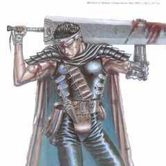 Guts poses with the Dragon Slayer.