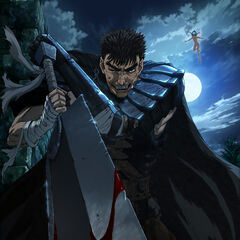A promotional image of Guts wielding the Dragon Slayer alongside <a href=