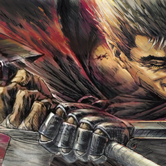 Promotional art of Guts swinging the Dragon Slayer by background artist <a rel=