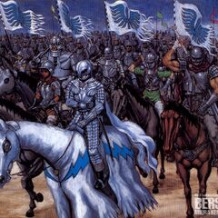 An armored Guts follows Griffith into battle on horseback.