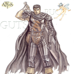 Guts stands beside Puck.