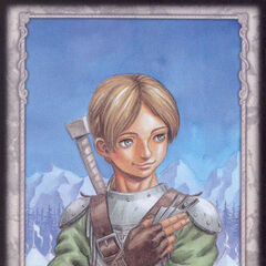 Judeau holds his throwing knives. (Secret card 8)