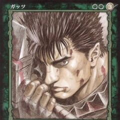 Guts holds the Dragon Slayer. (<a href=