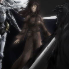 Guts alongside Casca and Griffith in the second ending, <i><a href=