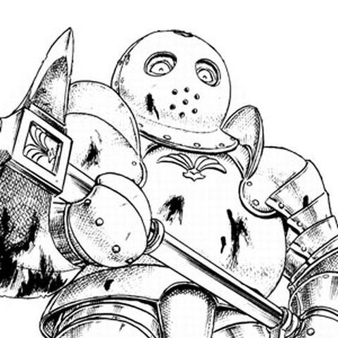 Bazuso wielding his battleaxe.