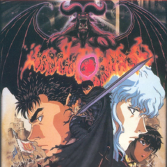 Promotional poster and soundtrack cover art, which depicts Guts as the Black Swordsman holding the <a href=