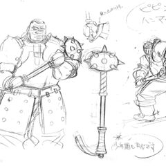 Concept sketches of Pippin's spiked mace, with the wielder for size comparison, for the 1997 anime.