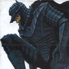 Guts kneeling, fully clothed in the Berserker Armor.