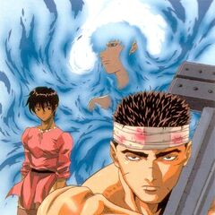 Promotional art of Guts, Casca, and an ethereal Griffith for the 1997 anime.