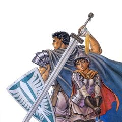 Guts holds a Band of the Falcon shield behind Casca.