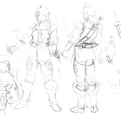 Front and back view drawings of an older Judeau clad in armor, with illustrations of his throwing knives, for the 1997 anime.