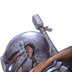 Guts dons his armor as a member of the Band of the Falcon.