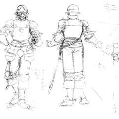 Front and back view sketches of an older Corkus clad in armor, with illustrations of his sword, for the 1997 anime.