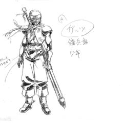 A charcoal shadowed full body sketch of Guts as a young mercenary, fully armored, for the 1997 anime.