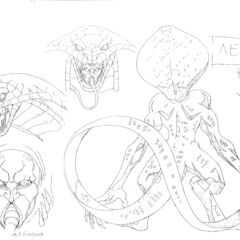 Back view and profile drawings of the Snake Baron in his apostle form for the 1997 anime.