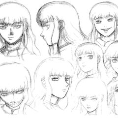 Profile drawings of a young Griffith showing various expressions, shadowed with charcoal, for the 1997 anime.