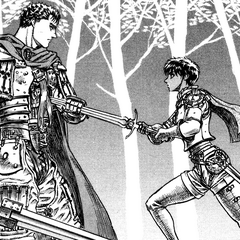 Casca drives her sword into Guts after he returns to the Band of the Falcon.