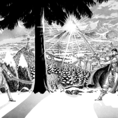 Guts and Griffith duel when the swordsman decides to depart from the Band of the Falcon.