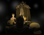 Skull Knight y Flora hablan sobre la armaudra Berserker (anime)