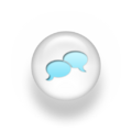 Speech balloon pearl white 3d two icons blue.png