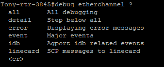Debug etherchannel