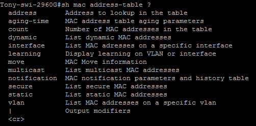 Show mac-address table