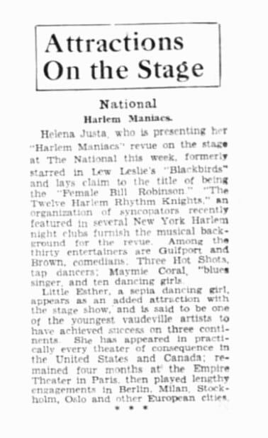 Baby Esther Jones Harlem Maniacs Black History Month