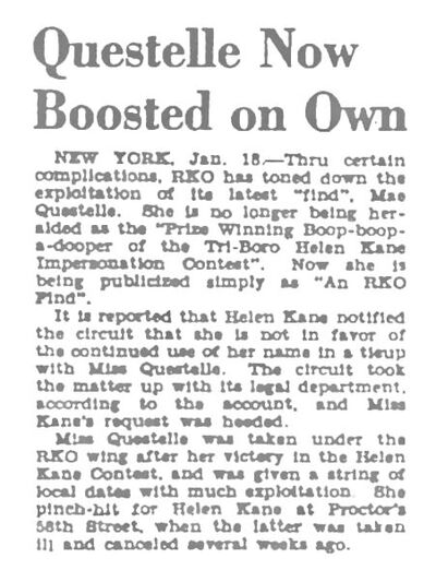Helen Kane Is Upset With Mae Questel Using Boop Title In 1930