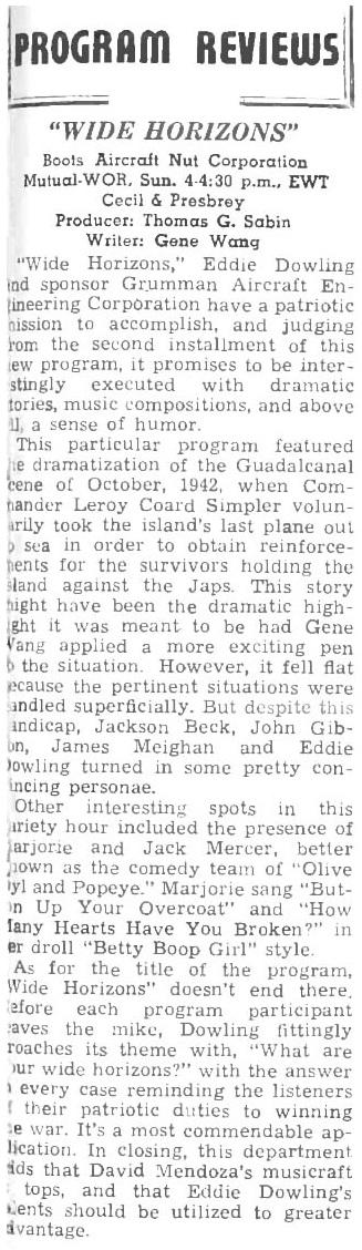 Jack Mercer Popeye and Margie Hines Betty Boop 1944