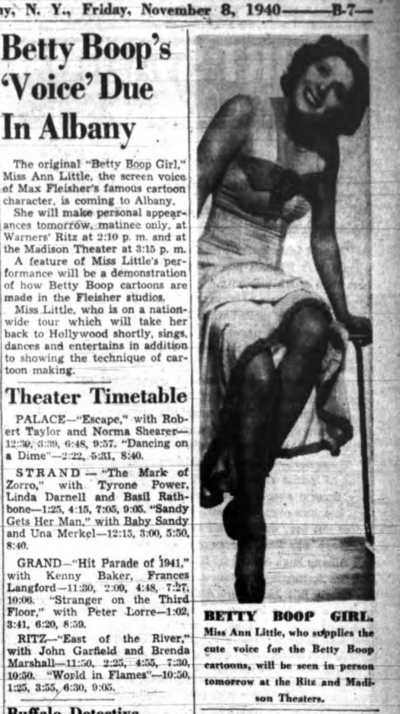 Betty Boop's Voice Due in Albany (1940)
