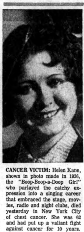 Helen Kane Death Cancer 1960s