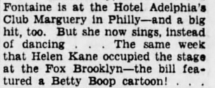 1935 Brooklyn Helen Kane Tour Using Betty Boop
