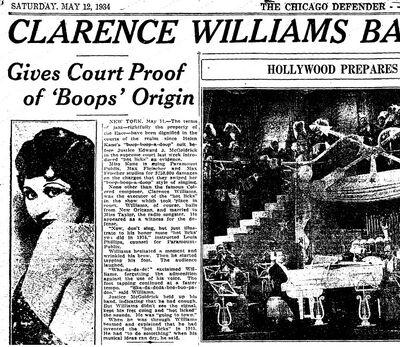 African Americans Boop Boop a Doop Origin 1934 Clarence Williams