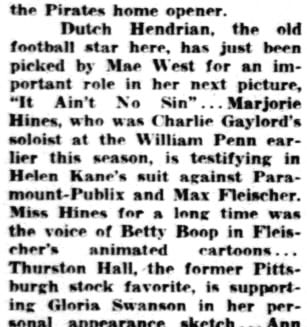 25th April 1934 Margie Hines Testifying Against Helen Kane