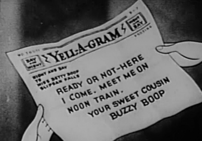 Buzzy letter to betty boop