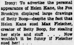 Helen Kane Max Fleischer Irony 1935 fox Brooklyn