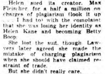 Helen Kane Lawsuit Max Fleischer