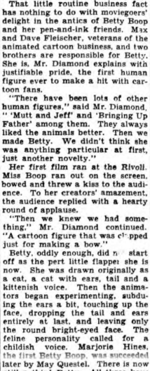 Betty Boop Popular Is With Moviegoers (1933)